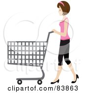 Brunette Caucasian Woman Pushing An Empty Shopping Cart In A Store