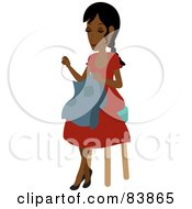 Royalty Free RF Clipart Illustration Of An Indian Woman Sitting On A Stool And Sewing by Rosie Piter