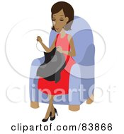 Royalty Free RF Clipart Illustration Of A Pleasant Hispanic Woman Sitting In A Chair And Sewing by Rosie Piter