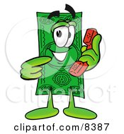 Clipart Picture Of A Dollar Bill Mascot Cartoon Character Holding A Telephone by Toons4Biz