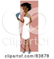 Indian Woman Draped In A Towel Blow Drying Her Hair