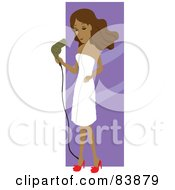 Hispanic Woman Draped In A Towel Blow Drying Her Hair