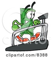 Clipart Picture Of A Dollar Bill Mascot Cartoon Character Walking On A Treadmill In A Fitness Gym by Toons4Biz