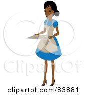 Royalty Free RF Clipart Illustration Of A Domestic Hispanic Woman Holding Chocolate Chip Cookies On A Baking Sheet