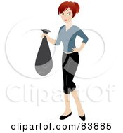 Red Haired Caucasian Woman Carrying A Garbage Bag