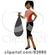 Royalty Free RF Clipart Illustration Of A Pretty Indian Woman Carrying A Garbage Bag by Rosie Piter
