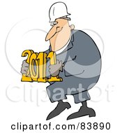 Royalty Free RF Clipart Illustration Of A Worker Man Carrying 2011
