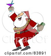 Royalty Free RF Clipart Illustration Of Santa Dancing And Drinking At A New Years Party by djart