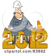 Royalty Free RF Clipart Illustration Of A Worker Man Sitting With A Cone On Top Of 2012 by Dennis Cox