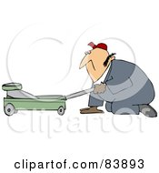 Royalty Free RF Clipart Illustration Of A Worker Man Kneeling And Using A Floor Jack by Dennis Cox
