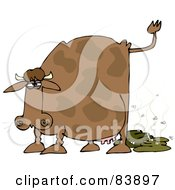 Royalty Free RF Clipart Illustration Of A Brown Cow Pooping With Flies by Dennis Cox