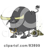 Royalty Free RF Clipart Illustration Of A Gray Bull Pooping With Flies