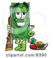 Clipart Picture Of A Dollar Bill Mascot Cartoon Character Duck Hunting Standing With A Rifle And Duck