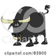 Royalty Free RF Clipart Illustration Of A Tough Black Bull With A Nose Ring by Dennis Cox