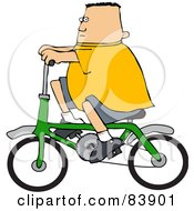 Royalty Free RF Clipart Illustration Of A Chubby Caucasian Boy Riding A Green Bicycle