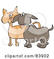 Royalty Free RF Clipart Illustration Of A Small Dog Panting And Standing Alert With An Orange Cat