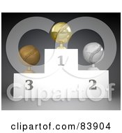 Royalty Free RF Clipart Illustration Of First Second And Third Place Baseball Trophies On A Podium