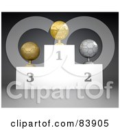 Royalty Free RF Clipart Illustration Of A 3d Podium Of First Second And Third Place Soccer Ball Trophies by Mopic