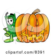 Clipart Picture Of A Dollar Bill Mascot Cartoon Character With A Carved Halloween Pumpkin by Toons4Biz