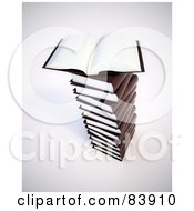 Royalty Free RF Clipart Illustration Of A 3d Open Book With Blank Pages On Top Of A Pile Of Brown Books by Mopic