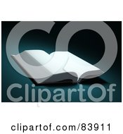 Royalty Free RF Clipart Illustration Of A 3d Open Book With Blank White Pages On A Teal Background