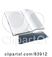 Royalty Free RF Clipart Illustration Of A Blank 3d Hovering Book Over A Shadow Version 2 by Mopic