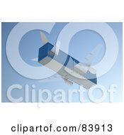Royalty Free RF Clipart Illustration Of A 3d Blue Cargo Box Airplane