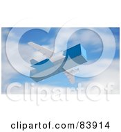 Royalty Free RF Clipart Illustration Of A 3d Blue Cargo Box Plane In Flight by Mopic