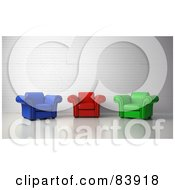 Royalty Free RF Clipart Illustration Of 3d Blue Red And Green Arm Chairs In A Lobby by Mopic