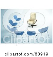 Royalty Free RF Clipart Illustration Of A Plush Leather Chair Facing A Half Circle Of Simple Chairs by Mopic