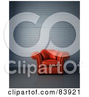 Royalty Free RF Clipart Illustration Of A Red 3d Arm Chair In A Lobby Against A Painted Brick Wall by Mopic