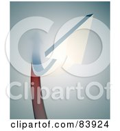 Royalty Free RF Clipart Illustration Of A 3d White Arrow Rushing Forward Over Red And Gray by Mopic