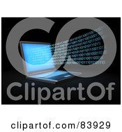 Royalty Free RF Clipart Illustration Of A Blue 3d Binary Code Streaming From A Laptop Computer by Mopic
