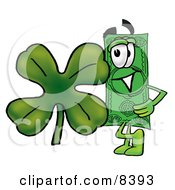 Dollar Bill Mascot Cartoon Character With A Green Four Leaf Clover On St Paddys Or St Patricks Day by Toons4Biz