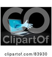 Royalty Free RF Clipart Illustration Of A 3d Hand Reaching Out From A Laptop Computer by Mopic