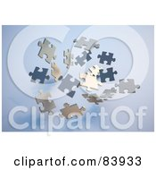 Royalty Free RF Clipart Illustration Of Floating 3d Puzzle Pieces Over Blue by Mopic