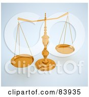 Royalty Free RF Clipart Illustration Of 3d Golden Scales On A Shaded Background