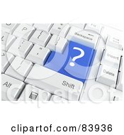 Royalty Free RF Clipart Illustration Of A 3d Blue Question Mark Button On A Computer Keyboard by Mopic