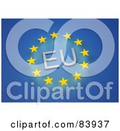Royalty Free RF Clipart Illustration Of A Circle Of Stars Around EU On Blue by Mopic