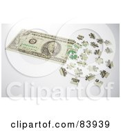 Royalty Free RF Clipart Illustration Of A 3d Dollar Puzzle Partially Assembled