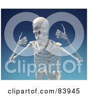 Royalty Free RF Clipart Illustration Of A 3d Human Skeleton Smiling And Holding Two Thumbs Up Over Blue