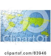 Royalty Free RF Clipart Illustration Of A Blue And Green Completed World Atlas Puzzle