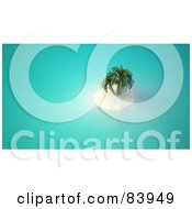 Royalty Free RF Clipart Illustration Of An Aerial View Down On A 3d Tropical Island With White Sand And Palm Trees by Mopic