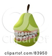 Royalty Free RF Clipart Illustration Of A Grinning 3d Pear With Teeth by Mopic