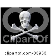 Royalty Free RF Clipart Illustration Of A 3d Pirate Skull Over Crossbones On Black by Mopic