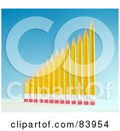 Royalty Free RF Clipart Illustration Of A 3d Bar Graph Of Yellow Pencils Showing Growth by Mopic