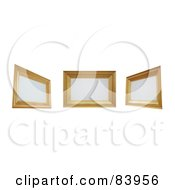 Royalty Free RF Clipart Illustration Of Three 3d Wooden Frames With Blank Spaces