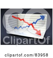 Royalty Free RF Clipart Illustration Of A 3d Double Arrow Graph In A Box Over Gray