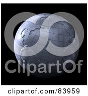 Royalty Free RF Clipart Illustration Of A 3d Globe Made Of Steel Over Black by Mopic