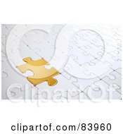 Royalty Free RF Clipart Illustration Of A Golden Puzzle Piece Completing A Whiter Puzzle